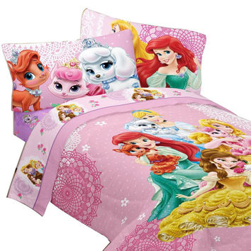 Disney Princesses Bedding Set Palace Pets Fabulous Friends Comforter and Sheet Set: Full