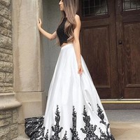 Petite Lace Prom Dress,Black And White Two Pieces Evening Dress A-Line Prom Dresses,Graduation Dress D8450