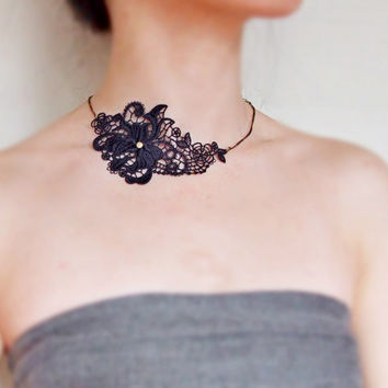 black steampunk lace bib necklace choker  flower handcrafted Fabric jewelry woman gift party