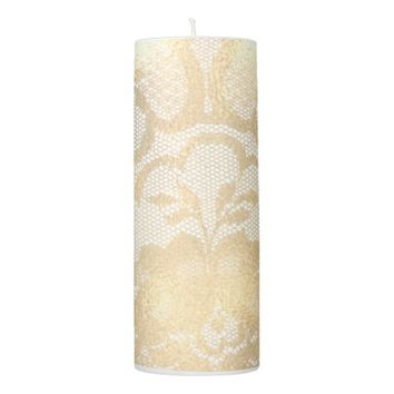 Lace Faux Gold White Sepia Floral Girly Glam Lux Pillar Candle