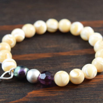 Mother of Pearl Bracelet. Infinity Bracelet. Swarovski Crystal Bracelet. Women's Beaded Bracelet. Yoga Bracelet. Lotus and Lava Bracelet.
