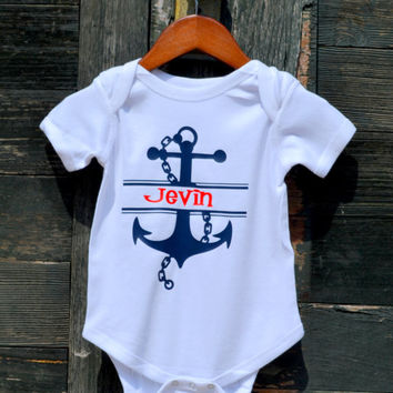 Personalized Anchor Baby Onesuit -Navy Anchor