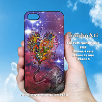 ELEPHANT Nebula ART Flowers - Print on Hard Cover For iPhone 4/4S and iPhone 5 Case