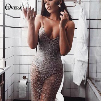OHVERA 2017 Wave Sequin Lace Dress Women Backless Deep v neck Sheer Shift Dresses Cut Out Sequin Mesh Straight Dress Vestidos