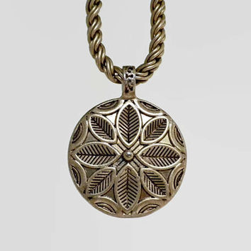 Floral Medallion Necklace Gold Tone by Monet - Heavy Necklace, Medallion Pendant, Flower Medallion, Boho Necklace, Boho Jewelry, Vintage