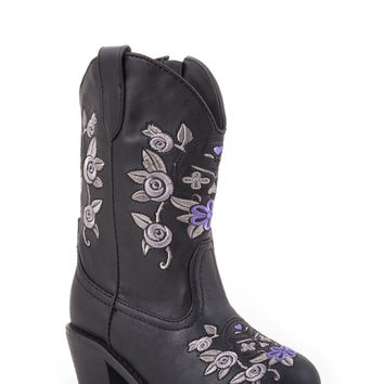 Roper Infant Fashion Western Faux Leather Boots Snip Toe Boot With Floral Design