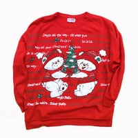 Vintage Ugly Christmas Sweater - 90s Ugly Christmas Sweater Party - Red Sweatshirt - Quirky Gift - Funny Gift