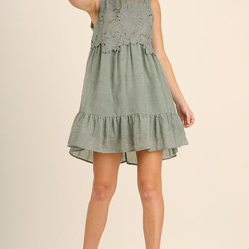 Dusty Mint Lace Dress with Ruffle Details