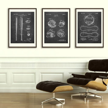 Trio of Baseball Patent Posters - Original Patents - Vintage Print - Patent Print - Patent Poster - Vintage Wall Art