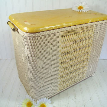 Vintage Spring Yellow U0026 Ivory Wicker Wooden Clothes Hamper   Early Petite  Burlington Basket Hawkeye Laundry