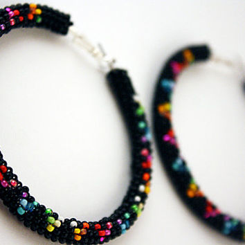 Black/Rainbow Beaded Native American Hoop Earrings