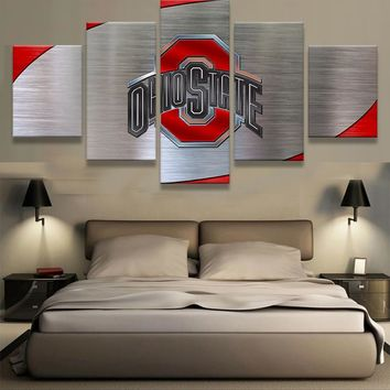 Ohio State Buckeyes NCAA College 5 Panel Canvas Wall Art Home Decor