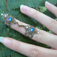 double armor ring chained ring Swarovski BLUE knuckle ring claw ring nail tip ring vampire goth victorian goddess pagan boho gypsy
