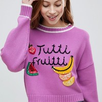 ASOS DESIGN jumper with tutti fruitti motif at asos.com