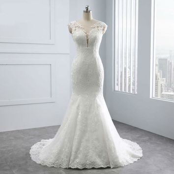 Wedding Dresses Sweetheart Backless Appliques Lace Pearls White Bridal Gown Mermaid Wedding Dress