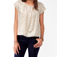 Metallic Abstract Blouson Top