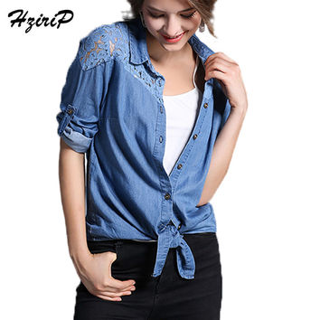 HziriP 2017 Euramerican Women Denim Tops Long Sleeve Shirts Lace Single Breasted Office Plus Size Female Blouse Spring Summer