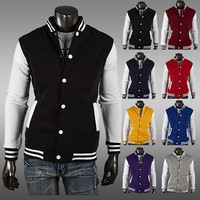 Color Contrast Men Varsity Sweat Jacket