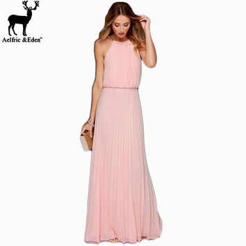 Elegant Casual Women Dress O-neck Sleeveless Women Long Maxi Dresses Bohemian Style Vestidos Fit and Flare Women Clothing