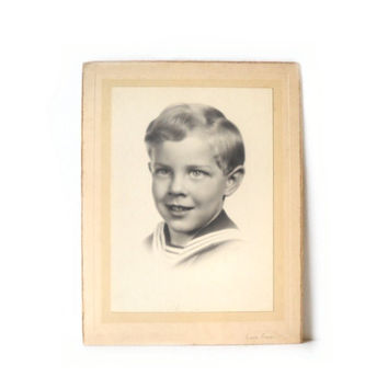 ON SALE - Vintage Photo Boy in Sailor Shirt Card, 1930s B&W Photograph