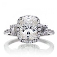 Radiant moissanite 9x7 cushion diamond halo engagement three stone ring