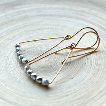 Minimalist geometric earrings, gold filled and silver. Mixed metal modern earrings. Triangle earrings with silver beads. Summer style, gift