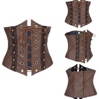 Brown Gothic Punk Costume Steampunk Underbust Corset Waist Belt Waistband