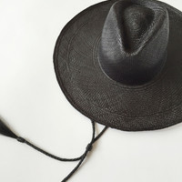 Ryan Roche Wide Panama Hat - Black