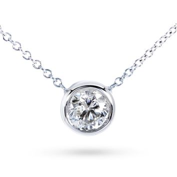 10K White Gold 0.3ct. TDW Bezel-Set Diamond Solitaire Pendant Necklace(H-I,SI2-I1)