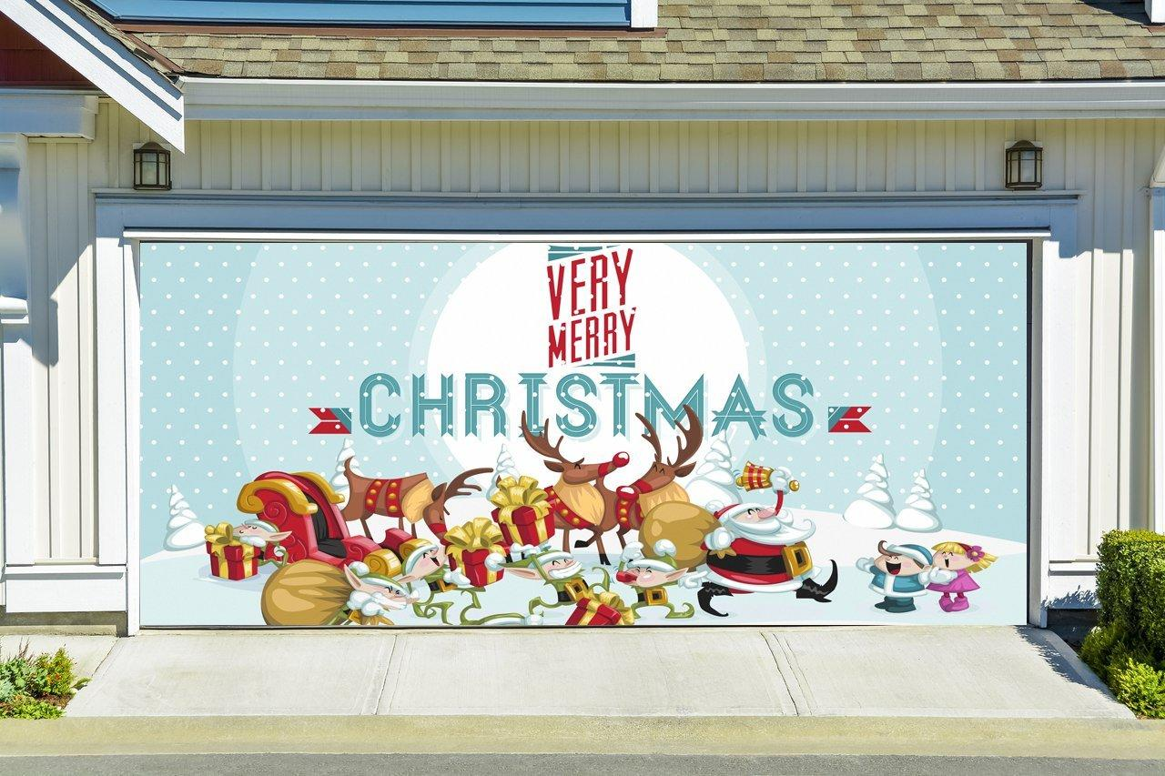 Christmas garage door cover merry from amazon christmas for Christmas garage door mural