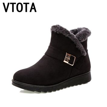 VTOTA Winter Women Snow Boots Warm Winter Boots Botas Mujer Ankle Boots For Women Fur Platform Wedges Boots Mother Shoes H154