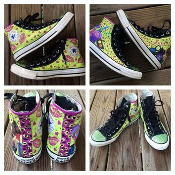 Girly Bling Converse Makeup Custom Kisses Hand Painted Converse Leopard Print Wild Neo
