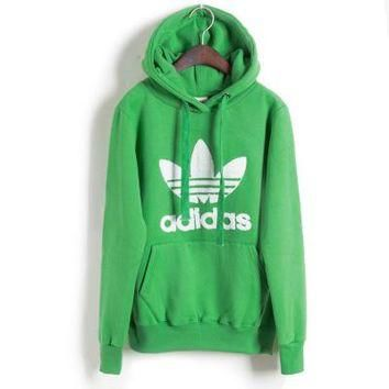 "Womens Green ""Adidas"" Print Hooded Pullover Tops Sweater Sweatshirts"