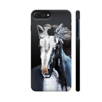 Horse Ghost On Black Phone Case Back Cover For Apple iPhone 7 plus with hole for logo Mobile | Artist: BluedarkArt