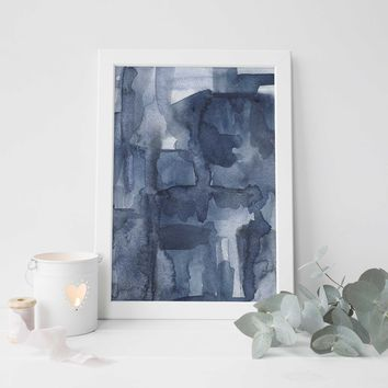 Modern Abstract Blue Watercolor Ocean Art Print