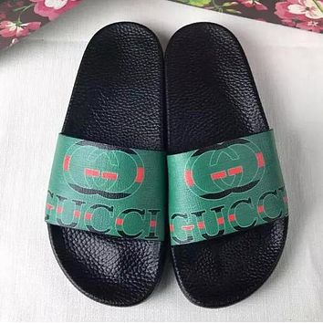 Gucci New Style Green Letter Print Sandal Slipper Couple Shoes