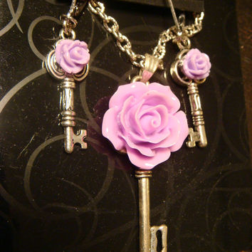 Small Purple Rose Skeleton Key Necklace with Tiny Purple Rose Key Earrings- SET (1373)