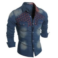 Korean Men Slim Denim Stylish Patchwork Rinsed Denim Shirt [6544496771]