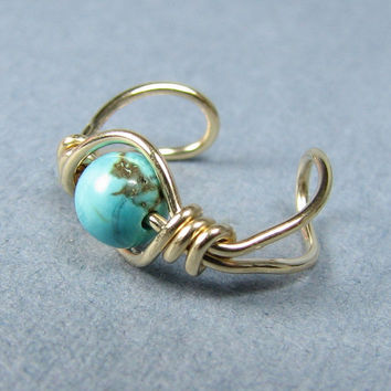 Ear Cuff 14k Gold Filled Turquoise Dyed Howlite by WireYourWorld