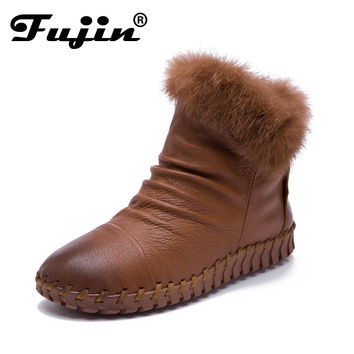2017 Women Shoes moccasins Female Genuine Leather Boots Handmade Vintage Style Ankle zip Fashion soft winter fur ankle shoes