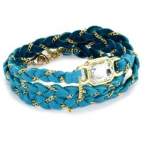 "Ettika ""Leather"" Gold Crystal Baguette Turquoise-Color Leather and Chain Wrap Bracelet - designer shoes, handbags, jewelry, watches, and fashion accessories 