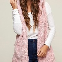 two tone faux fur vest with hoodie - more colors