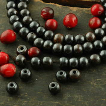 Sparkle / High Polish Black Cow Bone Beads / 10x8mm, 108 beads, India / Silk Road Boho, Yoga Craft, Jewelry-Making Supplies / Dark, Metallic