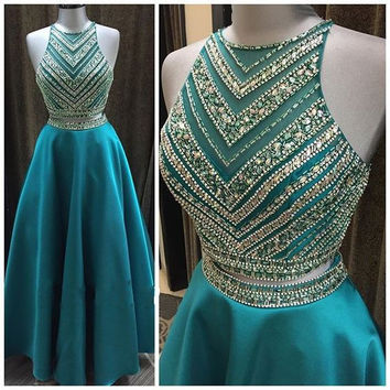 Luxury Crystal Beadings Two Pieces Prom Dresses Long Floor Length 2 Pieces Prom Gowns Sparkly Teal Blue Graduation Dresses