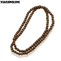XIAOJINGLING 8 Colors Wood Beaded Handmade String Long Chain Necklaces Women Men Wooden Beads Ethnic Jewelry DIY Accessories