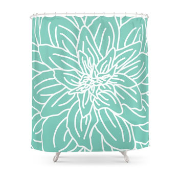 Society6 Abstract Flower Mint Green Shower Curtains