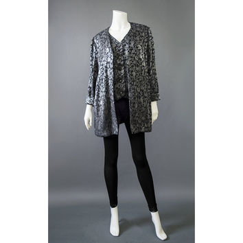 SALE! Leslie Fay 80s Party Top - Metallic Silver and Black Floral Blouse - Jacquard Top w/ Vest & Jacket - Oversize Blouse - 1980s Blouse
