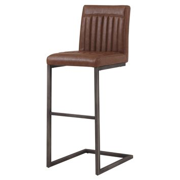 Jago Bar Stool, Antique Cigar Brown Leather Set of 2