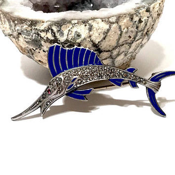 Sterling Marcasite Fish Brooch, Vintage 1930s, Figural, Sword Fish Pin, Cobalt Blue Enamel, Uncas, Signed, Vintage Jewelry, Gifts For Her
