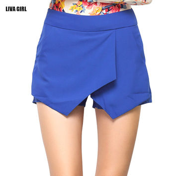Mid-waist Slim Fit Solid Skort